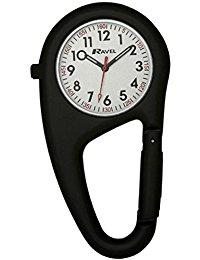 Ravel Unisex-Armbanduhr Ravel Matt Black Belt Clip Watch.Fully Secure to Fit on your Belt or Backpack. Analog Edelstahl Schwarz