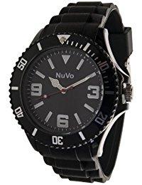 Nuvo - NU13H01 - Unisex Armbanduhr - Quartz - Analog - Schwarzes Zifferblatt - Schwarzes Armband aus Silikon - Modisch - Elegant