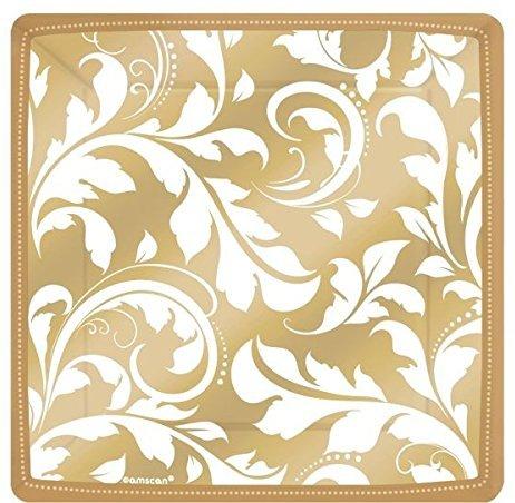 Pappteller quadratisch gold mit ornamenten plus produkt for Pappteller gold