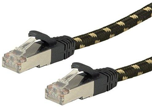 roline gold kabel mit ethernet lan netzwerkkabel patchkabel rj45 stecker schwarz 0 5 m. Black Bedroom Furniture Sets. Home Design Ideas