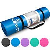 Proworks Gro&szlig,e Premium Yogamatte Gepolstert & Rutschfest f&uuml,r Fitness Pilates & Gymnastik mit Tragegurt in Blau - [Ma&