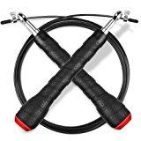 Springseil, Gritin 3M Stahlseil Jump Speed Rope seilspringen Profi Stahlkugellager leicht Verstellbare mit gem&uuml,tlich Griff