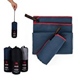 Premium Mikrofaser Handt&uuml,cher im 2er-Pack mit Tragetasche [140cm x 70cm & 70cm x 40cm] (Marineblau): Amazon.de: Sport & Fre