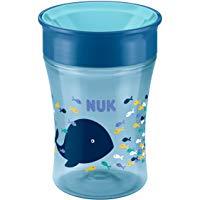 NUK Magic Cup Trinklernbecher, 360&deg, Trinkrand, auslaufsicher abdichtende Silikonscheibe, 230ml, BPA-frei, Blau