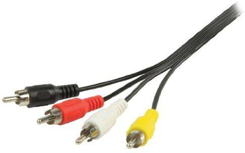 Valueline Cinch-AV-Kabel, 4x Stecker auf 4x Stecker (2m) schwarz