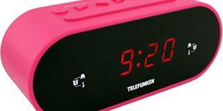 Telefunken R900 Radiowecker (UKW-Radio, PLL-Tuner, Dual Alarm, Sleep-Timer, LED-Anzeige) pink