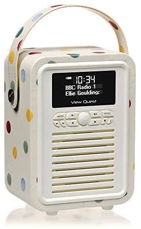 VQ (Vormals View Quest) VQ-MINI-EBPD Emma Bridgewater Retro Mini DAB+ Radio mit Bluetooth-Lautsprecher polka dot
