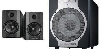M-Audio BX5 D2 Aktiver Bi-Amping Studiomonitore und PC-Lautsprecher (70-Watt, 1 Paar) + M-Audio BX Subwoofer (Hochwertiger 10 Zo