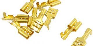 10 PCS Gold Ton Spaten Crimp Terminals 6,3 mm Verdrahtung Stecker