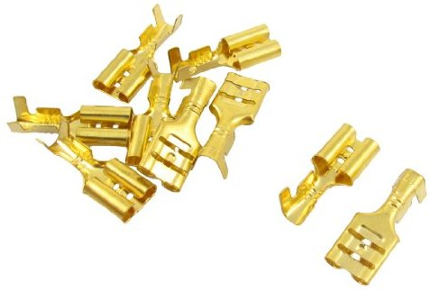 10 PCS Gold Ton Spaten Crimp Terminals 6,3 mm Verdrahtung Stecker