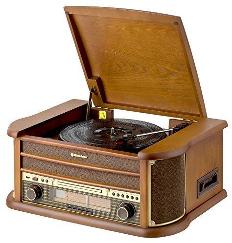 Roadstar HIF-1899 Retro Stereo-Anlage mit Plattenspieler, Kassette, CD-Player und Radio (UKW - MW, CD - MP3, USB, beleuchtetes L