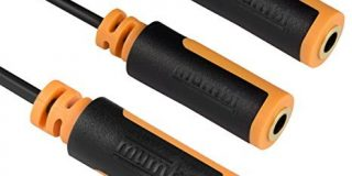 mumbi Y Audio Splitterkabel - 3.5mm Klinke auf 2x 3.5mm Klinkenkupplung mit vergoldeten Steckern 10cm