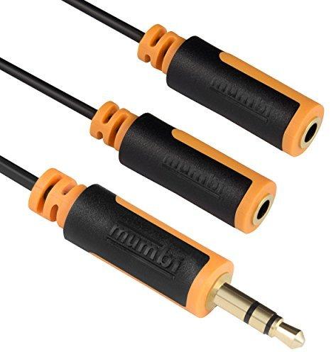 mumbi Y Audio Splitterkabel - 3.5mm Klinke auf 2x 3.5mm Klinkenkupplung mit vergoldeten Steckern 30cm
