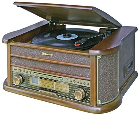 Roadstar HIF-1990 Retro Stereo-Anlage mit Plattenspieler, Kassette, CD-Player und Radio (UKW - MW, CD - MP3, USB, beleuchtetes L