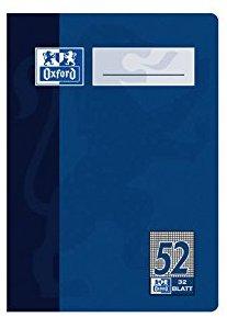 Oxford 384603252-100050397 Oktavheft DIN A6, Lineatur 52, kariert 5 mm, 90 g-qm, 4-fach sortiert