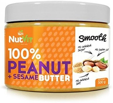 NutVit 100% Peanut Butter + Sesame Butter, 1er Pack (1 x 500 g)