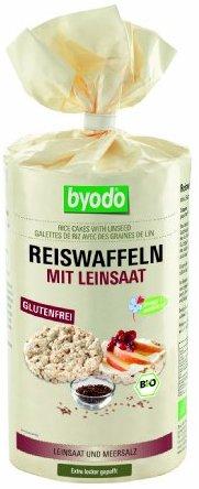Byodo Reiswaffeln mit Leinsaat und Meersalz, 1er Pack (1x 100 g) - Bio
