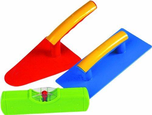 Gowi 558-73 Design Maurerset, KofferSpielwerkzeug, 3  teilig farblich sortiert