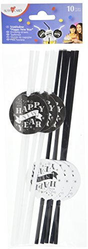 "Susy Card 40006826 - Trinkhalme ""Happy New Year"", 10er Packung"