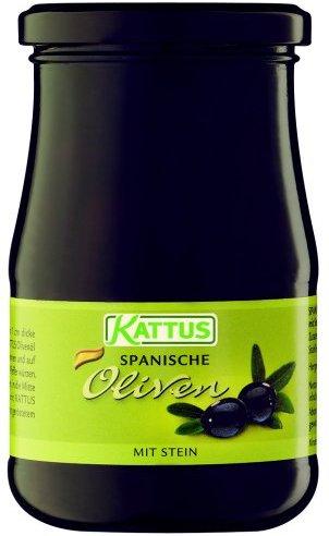 Kattus Spanische schwarze Oliven, mit Stein, 2er Pack (2 x 345 g)