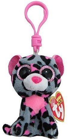 Carletto Ty 36616 - Tasha Clip Leopard mit Glitzeraugen Glubschi's Beanie Boo's, 8.5 cm, pink-grau