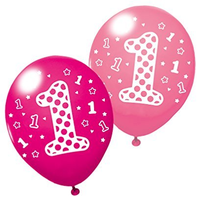 "Susy Card 40011950 - Luftballons ""1.Birthday"" Girl, 3er Packung"