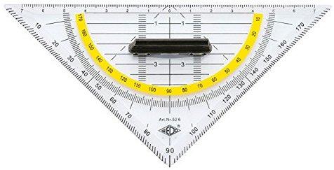 Wedo 526 Geometrie Dreieck 16 cm, Kunststoff, abnehmbarer Griff, Hypotenuse, Facetten, Tuschenoppen, transparent