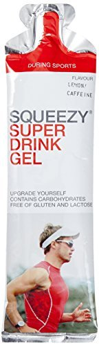 Squeezy Sports Nutrition Super Drink Gel 60-ml-Beutel, Geschmack Zitrone-Koffein, 3er Pack (1 x 0.18 kg)