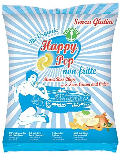 HAPPY POP Mais und Reis Chips Sour Cream und Onion Bio, 1er Pack (1 x 45 g)