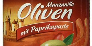 Kattus Manzanilla Oliven mit Paprikapaste, 4er Pack (4 x 200 g)
