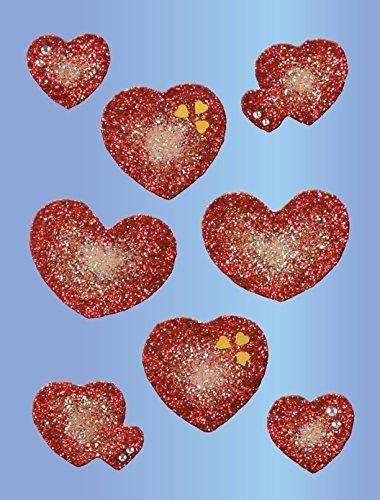 Avery Zweckform 55636 Deko Sticker, Herzen (Glitzerfolie), 8 Aufkleber