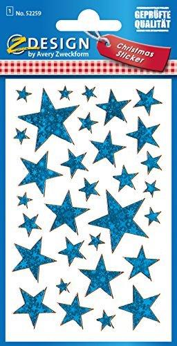 Avery Zweckform 52259 Weihnachtssticker Sterne (Effektfolie) 38 Aufkleber