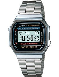 Casio Collection - Unisex-Armbanduhr mit Digital-Display und Edelstahlarmband - A168WA-1YES