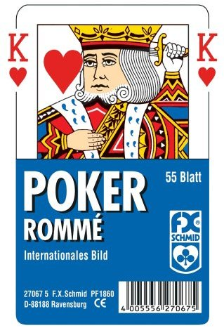 Ravensburger 27067 - Poker, Internationales Bild - 55 Blatt, glasklares Etui