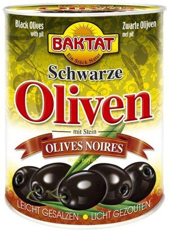 Baktat Schwarze Oliven m. Stein leicht ges. , 2er Pack (2 x 800 g Packung)