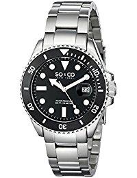 So &Co Men'Yacht Club New York Herren Quarzuhr mit schwarzem Zifferblatt Analog-Anzeige und Silber-Edelstahl-Armband 5025.1