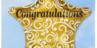 Amscan 3263501 Congratulations anspruchsvolles Star Folienballon