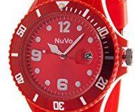 Nuvo - NU13H09 - Unisex Armbanduhr - Quartz - Analog - Rotes Zifferblatt - Rotes Armband aus Silikon - Modisch - Elegant - Styli