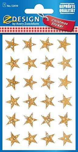 Avery Zweckform 52419 Weihnachtssticker Sterne (Effektfolie) 24 Aufkleber