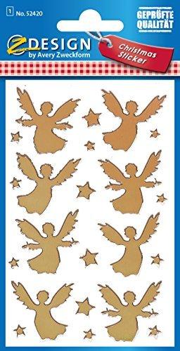 Avery Zweckform 52420 Weihnachtssticker Engel (Effektfolie) 22 Aufkleber