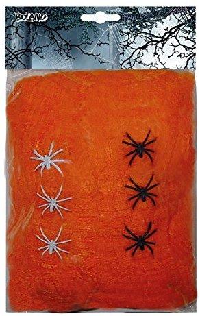 Boland 74421 - Deko Spinnengewebe orange mit 6 Spinnen