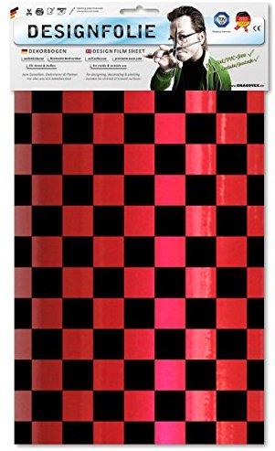 EASYPLOT 87-027-071-B - Designfolie Fun 3, circa A4, perlmutt rot-schwarz