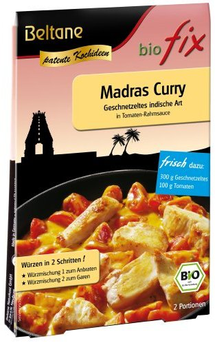 Beltane biofix Madras Curry - 2 Portionen, 2er Pack (2 x 19,7 g Packung) - Bio