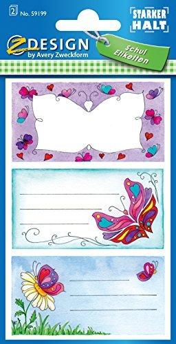 Avery Zweckform 59199 BuchEtiketten Schmetterling (starker Halt) 6 Aufkleber
