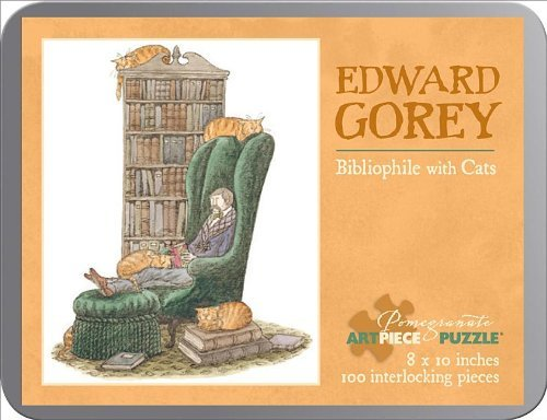 Edward Gorey-Bibliophile with Cat 100 Piece Tin Puzzle (Pomegranate Artpiece Puzzle)