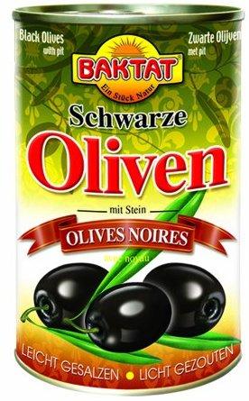 Baktat Schwarze Oliven m.Stein leicht ges. , 3er Pack (3 x 350 g Packung)