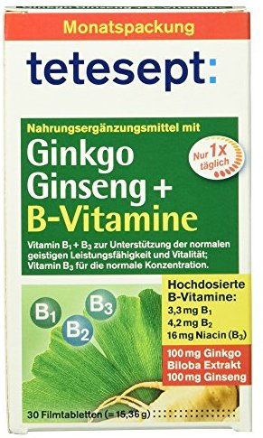 tetesept Ginkgo Ginseng + B-Vitamine, 30 Tabletten