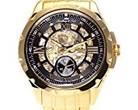 Lindberg & Sons - SK14H030 - wrist watch for men - skeleton - automatic movement analog display - black dial - Bracelet Acier Or
