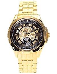 Lindberg & Sons - SK14H030 - wrist watch for men - skeleton - automatic movement analog display - black dial - Bracelet Acier Or