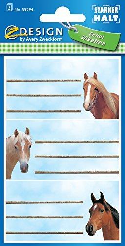 Avery Zweckform 59294 BuchEtiketten Pferde (starker Halt) 9 Aufkleber